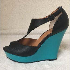 BC Footwear Lickety Split Peep Toe Wedge Sandals